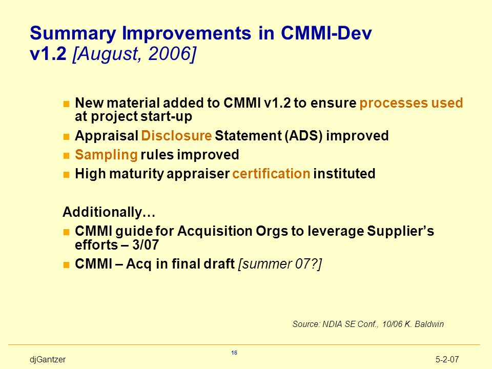 Summary Improvements in CMMI-Dev v1.2 [August, 2006]